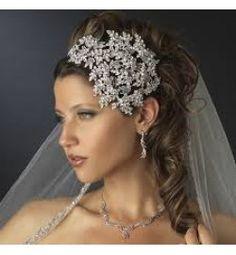 Vintage Couture Leaves Side Accented Crystal Bridal Faceframer Headband