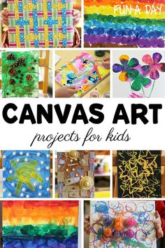 12 ideas for canvas art projects for preschool and older kids! These can be collaborative art projects, individual works of art, or done in a small group. They're great in a classroom setting or at home!