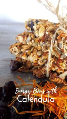 Make yourself happy and satisfied with these Paleo Protein energy bars with Calendula  that are a great source of protein, fiber, and healthy fats. #herbalrecipes, #usingfreshherbs, #realfood, #natural, #freshherbs, #energybar, #calendula