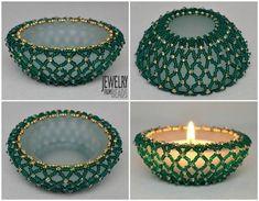 Karla Mokrošová Beaded Bracelet Patterns, Beaded Bracelets, Bead Art, Tea Lights, Swarovski, Candle Holders, Projects To Try, Candles, Beads