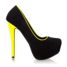 Neon green and black heels by DeeZee