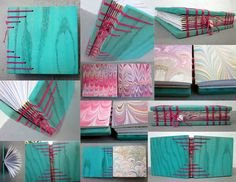 Aqua painted wood, marbelized paper pages, charm woven into the binding, coptic bookbinding