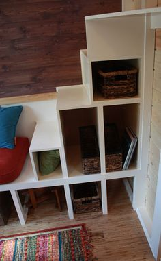 """Absolutely LOVE this stair design. It changes direction (space saver!) and runs into the """"couch"""". It flows! Big Ivy 