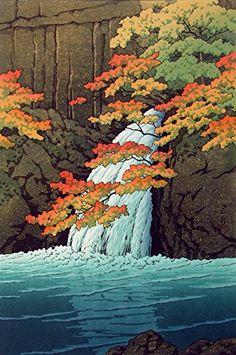 "Japanese Art Print ""Senju Waterfall, Akame"" by Kawase Hasui. Shin Hanga and Art Reproductions http://www.amazon.com/dp/B00VB58Q0O/ref=cm_sw_r_pi_dp_EhQvwb11CJAPW"
