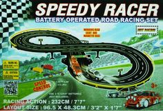 Golden Bright Speed Racer Road Racing Set - The Golden Bright Speed Race Road Racing Set is a battery-operated set with a classic figure eight shape and plunger hand controllers.