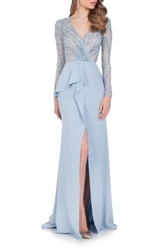 Terani Couture Embellished Chiffon Gown available at #Nordstrom