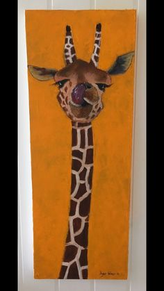 Giraffe with the tounge in his nose😊 Acrylic painting 30x80 cm on canvas.
