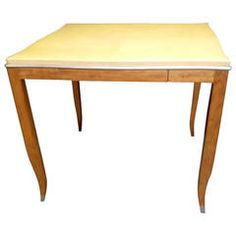 Lacquered Goatskin and Silver Leaf Game Table
