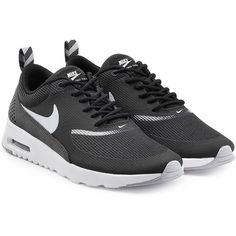 Nike Air Max Thea Premium Leather Sneakers (1 580 ZAR) ❤ liked on Polyvore featuring shoes, sneakers, black, black leather sneakers, genuine leather shoes, nike, black leather shoes and leather shoes