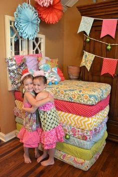 Princess and the Pea Party - this looks cute even just for the fun fabrics on the little mattresses!