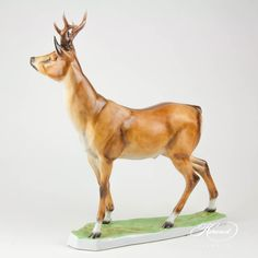 Roe Buck is painted in Naturalistic (MCD) Brown Matte surface decor. Goldfish Bowl, Tea Cups, Porcelain, Horses, Chinese, Animals, Porcelain Ceramics, Animales, Jar
