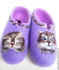 Кошечка.Тапочки валяные женские с рисунком. Валяная домашняя обувь ручной работы. Авторский войлок Авраменко Ирины.