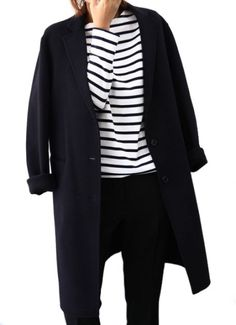 Black denim, black and white striped shirt and black coat