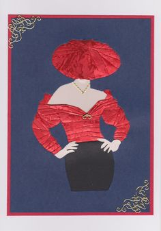 Iris Fold lady in Red by HandmadeCreativeCard