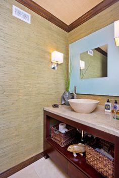 Modern bathroom with an ocean theme.