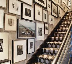 staircase- graphic runner and black and white gallery wall