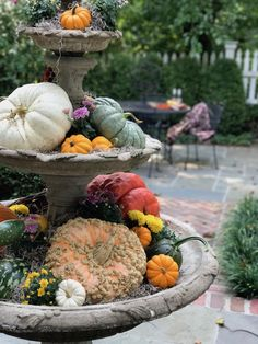 I love how my friend Lisa decorated her fountain for fall: filled up with pumpkins, gourds and mums. Seasonal Decor, Holiday Decor, Holiday Parties, Fall Containers, Deco Floral, Happy Fall Y'all, Fall Pumpkins, Glitter Pumpkins, Gardening
