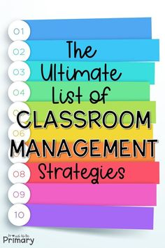 The ultimate list of classroom management strategies for the primary classroom directly from teachers in the classroom. Their ideas are organized into verbal and non-verbal strategies, parent communic Classroom Management Primary, Classroom Discipline, Classroom Management Strategies, Teaching Strategies, Teaching Tips, Classroom Procedures, Middle School Management, Preschool Behavior Management, Classroom Behaviour