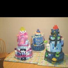 Diaper cakes for baby shower gifts (: