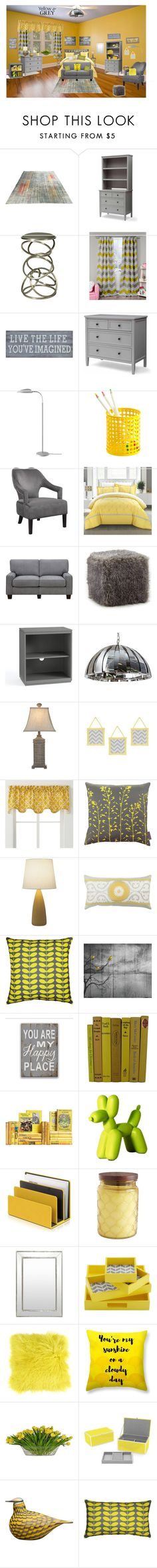 """""""Yellow & Gray Bedroom"""" by pinky-dee ❤ liked on Polyvore featuring interior, interiors, interior design, home, home decor, interior decorating, ZEKI, Pastel, Duck River Textile and Pier 1 Imports"""