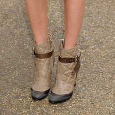 Burberry Quilted Leather Buckled Ankle Boots