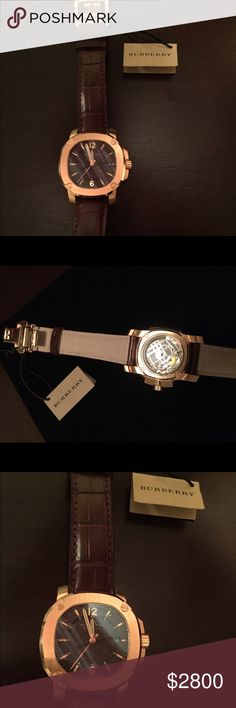 Burberry Britain Rose Gold alligator strap A beautiful yet bold Burberry Britain automatic Swiss made with sapphire crystal and 26 jewel movement genuine brown alligator strap attach to 18k rose gold plated octagon bezel BBY1211 the item is brand new without box with tag Burberry Accessories Watches