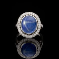 1a8e595bb0f Natural 8.55-ct Blue Star Sapphire   Diamond Ring - 66mint Fine Estate  Jewelry