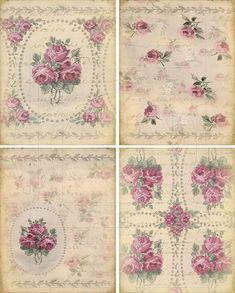 4 achtergronden met rozen