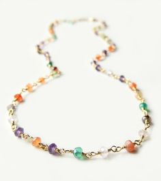 Arista Layering Necklace with Mixed SemiPrecious Stones by Flow Designs