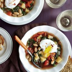 Swiss Chard and White Bean Soup with Poached Eggs | CookingLight.com