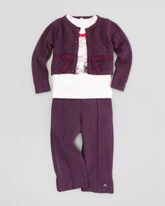 Bow Knit Cardigan, Long-Sleeve Paris-Graphic Shirt & Ponte Leggings  by Lili Gaufrette at Neiman Marcus.