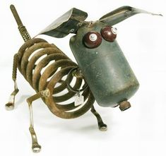 yard art from junk metal | scrap metal sculptures have been out together using pieces of scrap ...