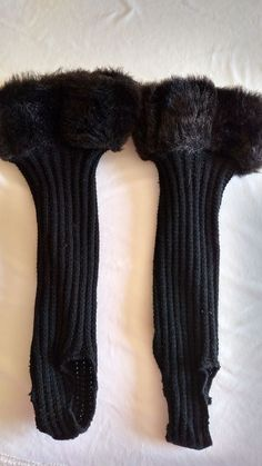 Black Leg Warmers - Worn Inside Boots for Faux Fur Look At Top  #Unknown