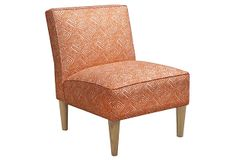 Stout Pattern: Copley 4 Tile on Finnegan Armless Chair, Orange/White, at OneKingsLane.com