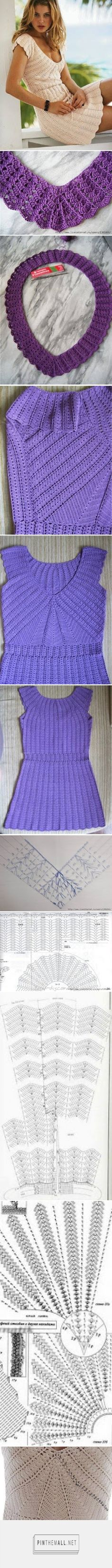 Crochet patterns: Crochet SummerTunic Dress Free Chart and Photo Instructions - created via http://pinthemall.net