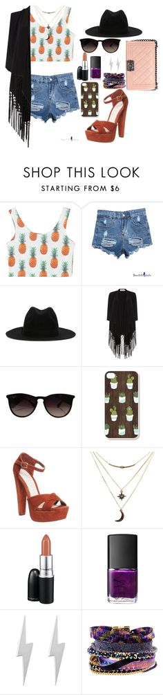 """""""Sem título #4"""" by irisaparecida on Polyvore featuring moda, Super Duper, Soaked in Luxury, Ray-Ban, Office, Charlotte Russe, MAC Cosmetics, NARS Cosmetics, Edge Only e Hipanema"""
