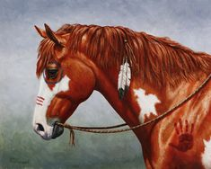 Native American War Horse Painting by cs forrest @ http://fineartamerica.com/featured/native-american-war-horse-crista-forest.html