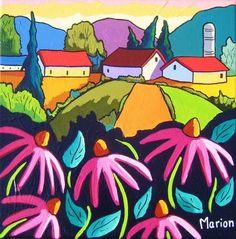 La valse des échinacées - Louise Marion, artiste peintre, paysage urbain, Quebec, couleurs