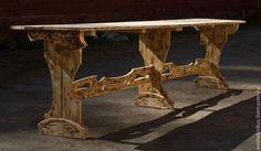"""Мебель ручной работы. Ярмарка Мастеров - ручная работа. Купить Стол дачный """"Трапеза"""". Handmade. Коричневый, деревенский стиль, грубый"""