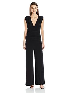 Norma Kamali Womens Sleeveless V Neck Shirred Waist Jumpsuit Black XS ** Read more reviews of the product by visiting the link on the image.(This is an Amazon affiliate link)