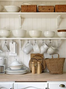 White dishes and natural accessories...perfect for living.