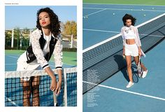 Crop tops and lace embellishments are worn on the tennis court
