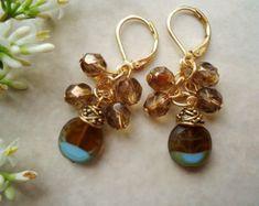 Italian Glass Cluster Earrings. Crystals.  Ornate Bead Cap plated in 24k Gold. Handmade.