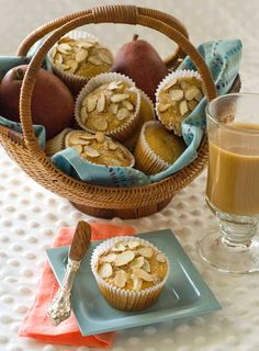 Gluten Free Healthy Pear Muffins.  I keep a batch of these in the freezer all the time.  They warm up well in the microwave and go great with a cup of coffee, hot tea, or milk.