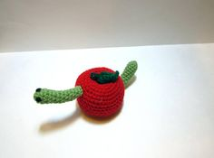 Worm Apple Amigurumi  Crochet Apple with Worm  Weird Apple