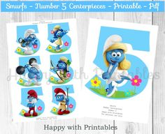 Smurfs Number 5 Centerpieces - Smurfs Centerpieces - Smurfs party - Smurfs birthday - Smurfette Centerpieces - The lost village printable by HappywithPrintables on Etsy