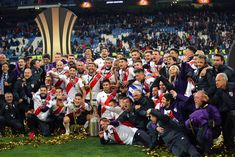 The River Plate players and staff celebrate with the trophy at the. Nacho Fernandez, Santiago Bernabeu, Carp, Finals, Madrid, Dolores Park, Two By Two, History, Celebrities