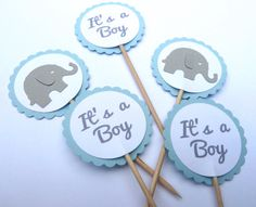 This listing is for 24 gray and blue elephants and Its a Boy printed in gray, baby shower cupcake toppers (12 of each) - also great for food