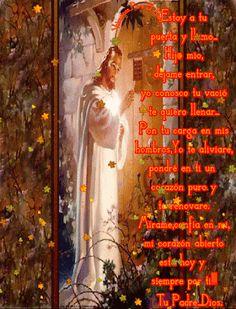 Imagen de Dios presente siempre en nuestras vidas con movimiento y frases Dios toca a la puerta de tu corazon