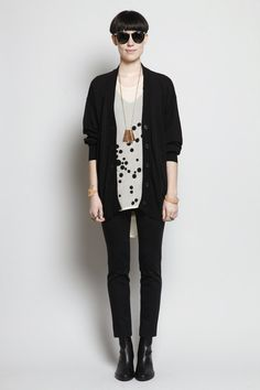Great outfit anchored by the perfect black Maison Martin Margiela Cardigan